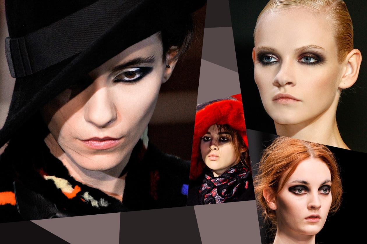 Polveri scure sfumate sulle palpebre e una spessa riga nera: lo smoky eyes e l'eyeliner ritornano protagonisti delle passerelle a/i 2012-13