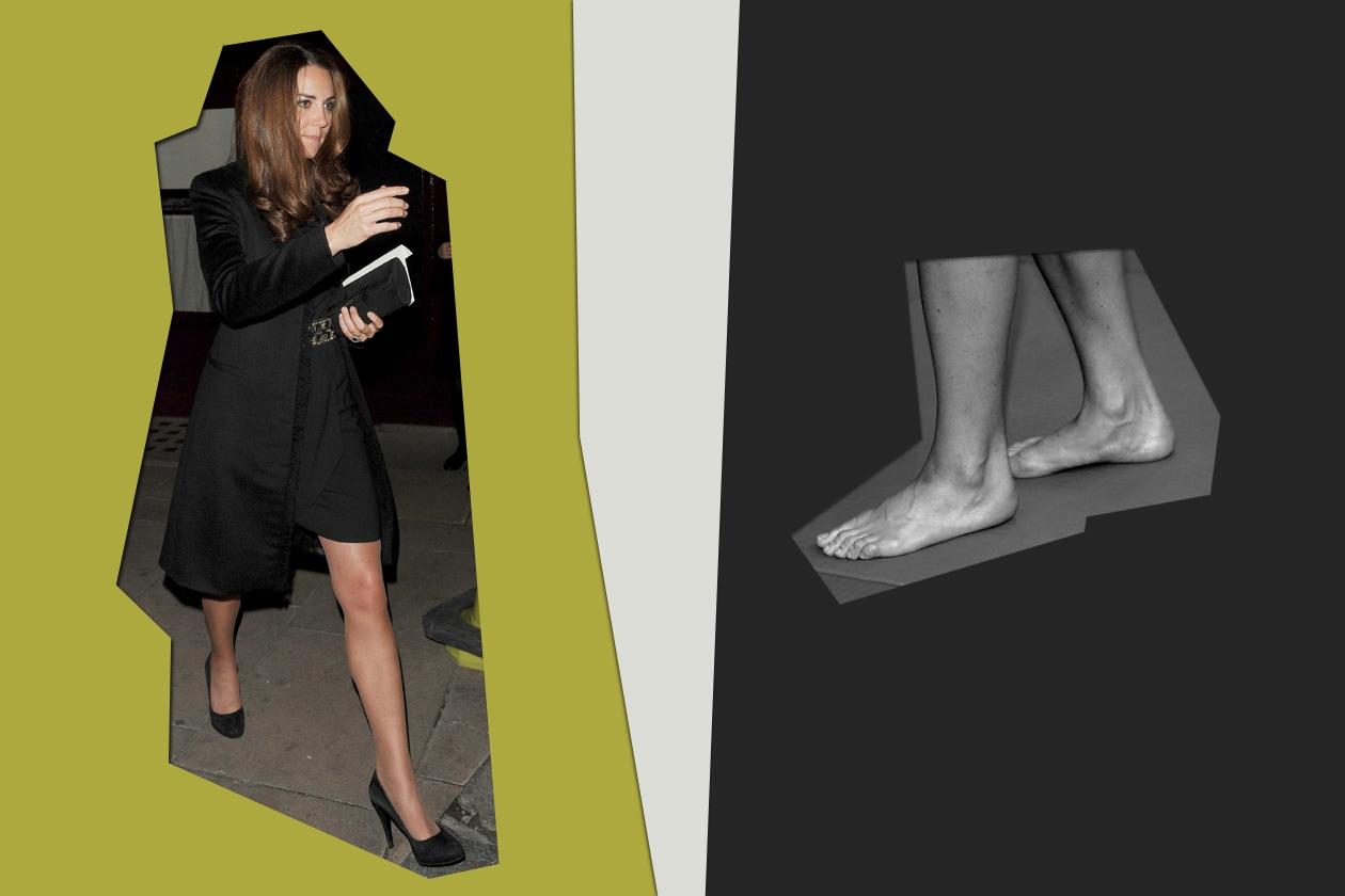 Dalla scarpa chiusa con tacco al piede nudo non proprio perfetto (Kate Middleton)