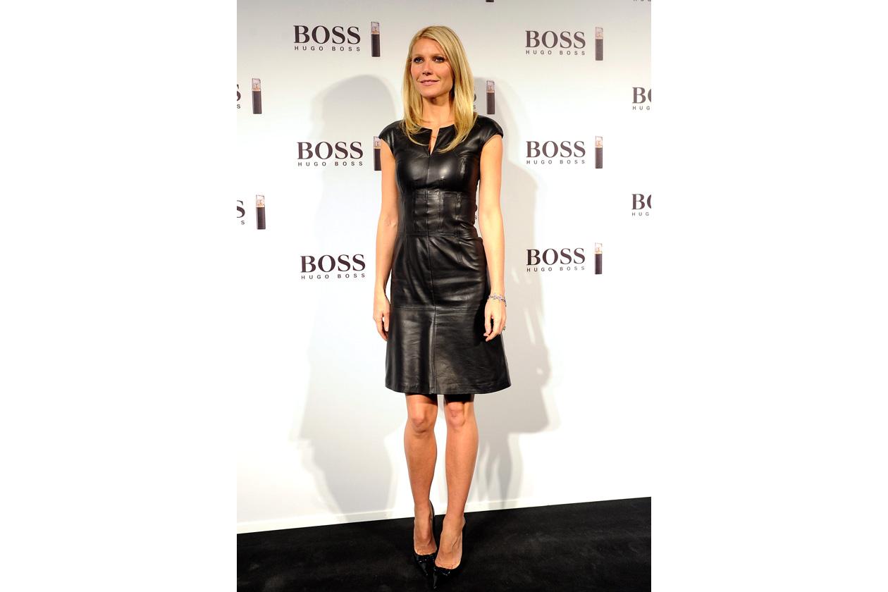 Gwyneth Paltrow BOSS Black Leatherdress Madrid October 2012