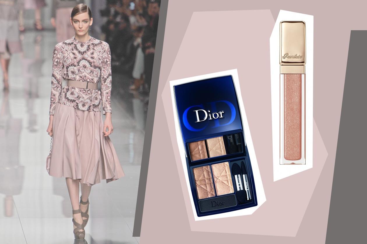 Il Nude Glow di Dior e il Kiss Kiss Gloss Sable Show di Guerlain sono perfetti sul rosa cipria di Dior