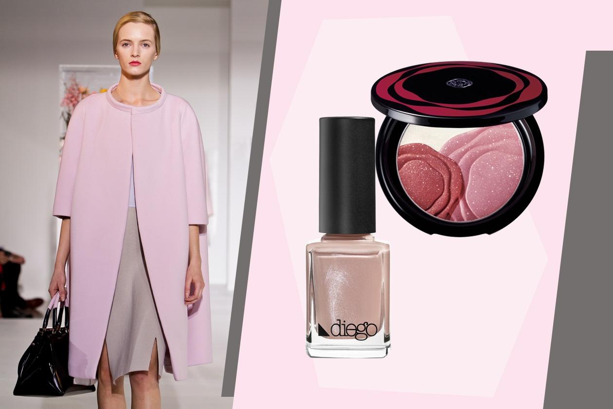 Mani di velluto (Velvet Nail di Diego Dalla Palma) e zigomi colorati con polveri shimmer (Shiseido) per la modella di Jil Sander