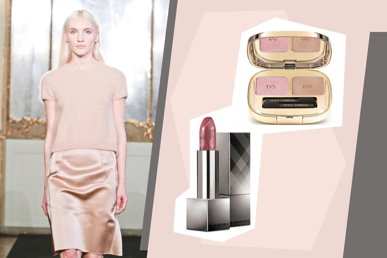 Nuance satinate (Sepia Pink di Burberry sulle labbra e Duo Glam Look Collection Cinnamon di Dolce&Gabbana sugli occhi) per il completo firmato Les Copains