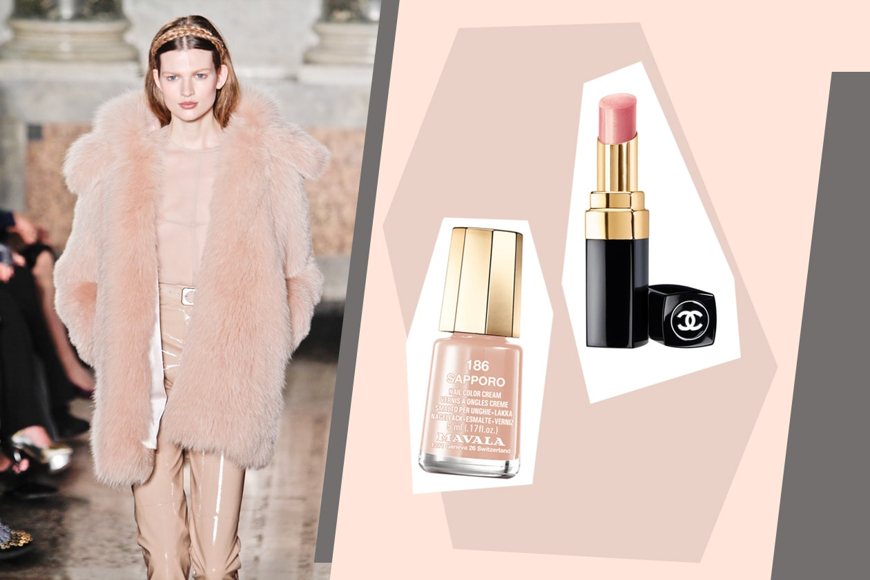 Rosa delicatissimo su mani (Sapporo di Mavala) e su labbra (Rouge Coco Shine  Parfait di Chanel) per la candy lady di Emilio Pucci