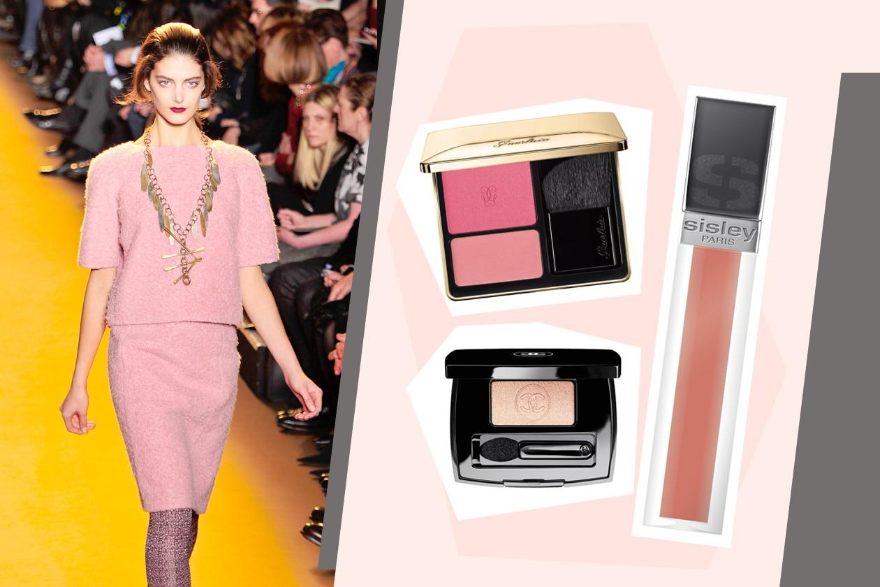 Rosa&oro è il binomio très chic scelto da Rochas e da Guerlain con il nuovo blush. Ideali per il make up il gloss di Sisley e l'ombretto Complice di Chanel