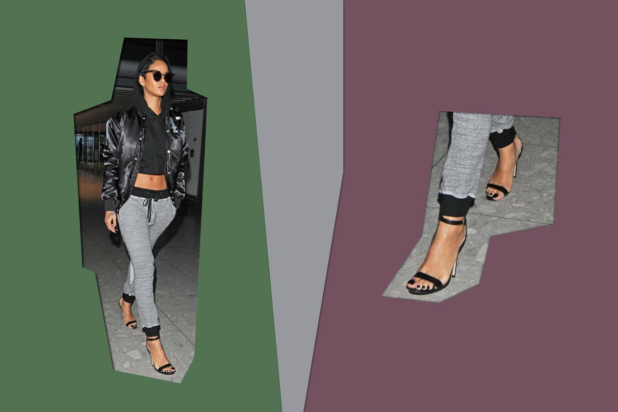 Smalto nero come il colore del sandalo per Rihanna