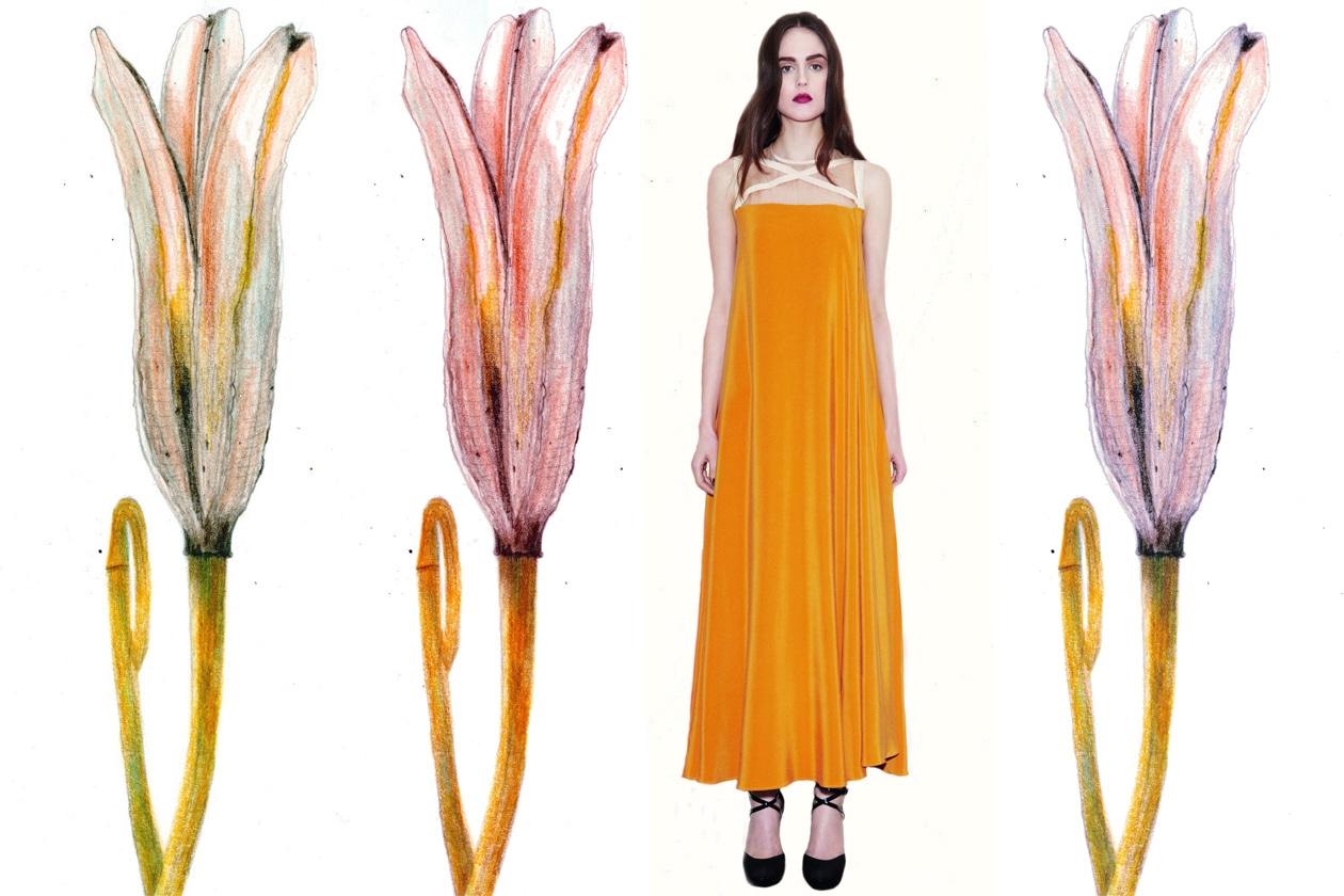 Abito lungo color zafferano di Barbara Casasola