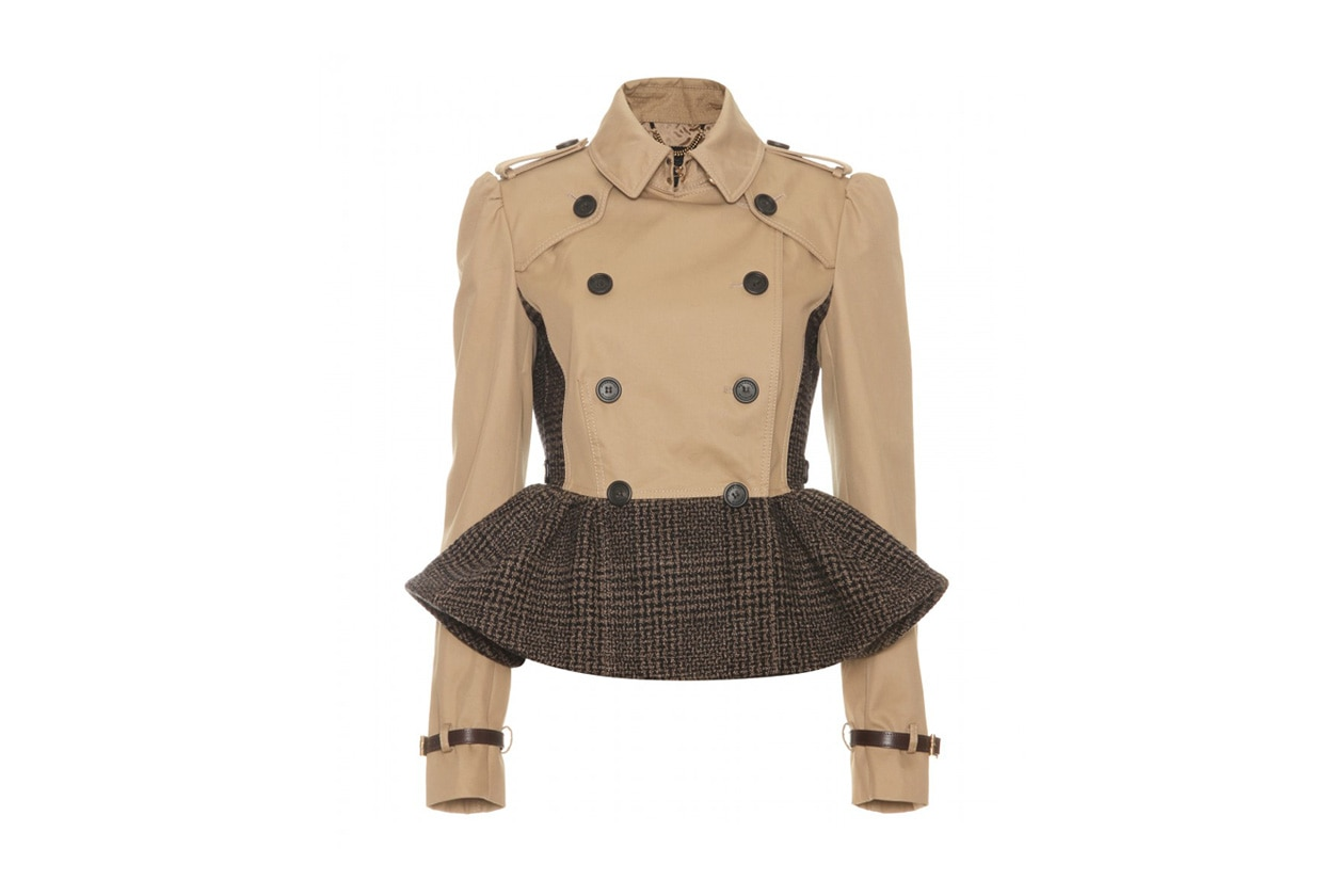 P00050687 TRENCH JACKET WITH TWEED PEPLUM STANDARD
