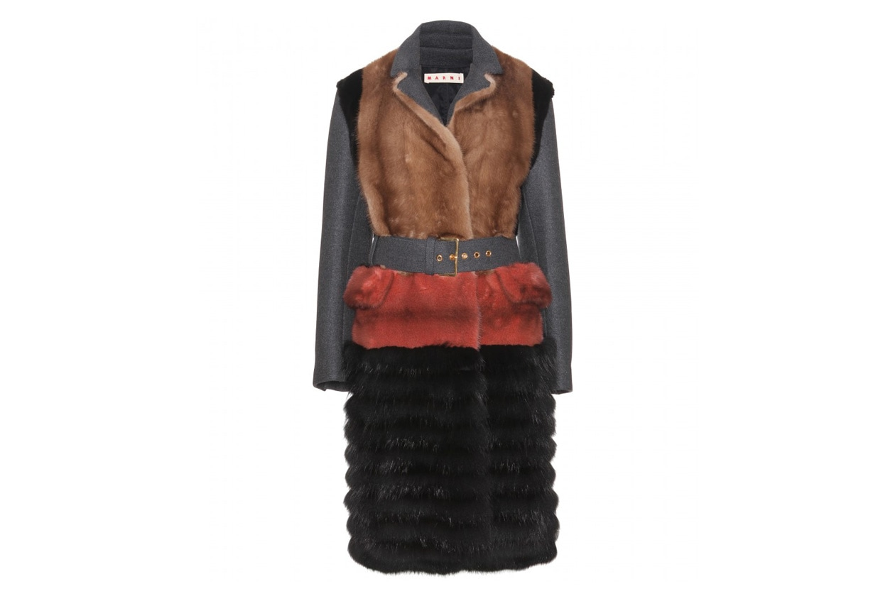 P00046174 MULTICOLOR FUR COAT WITH CONTRAST SLEEVES STANDARD