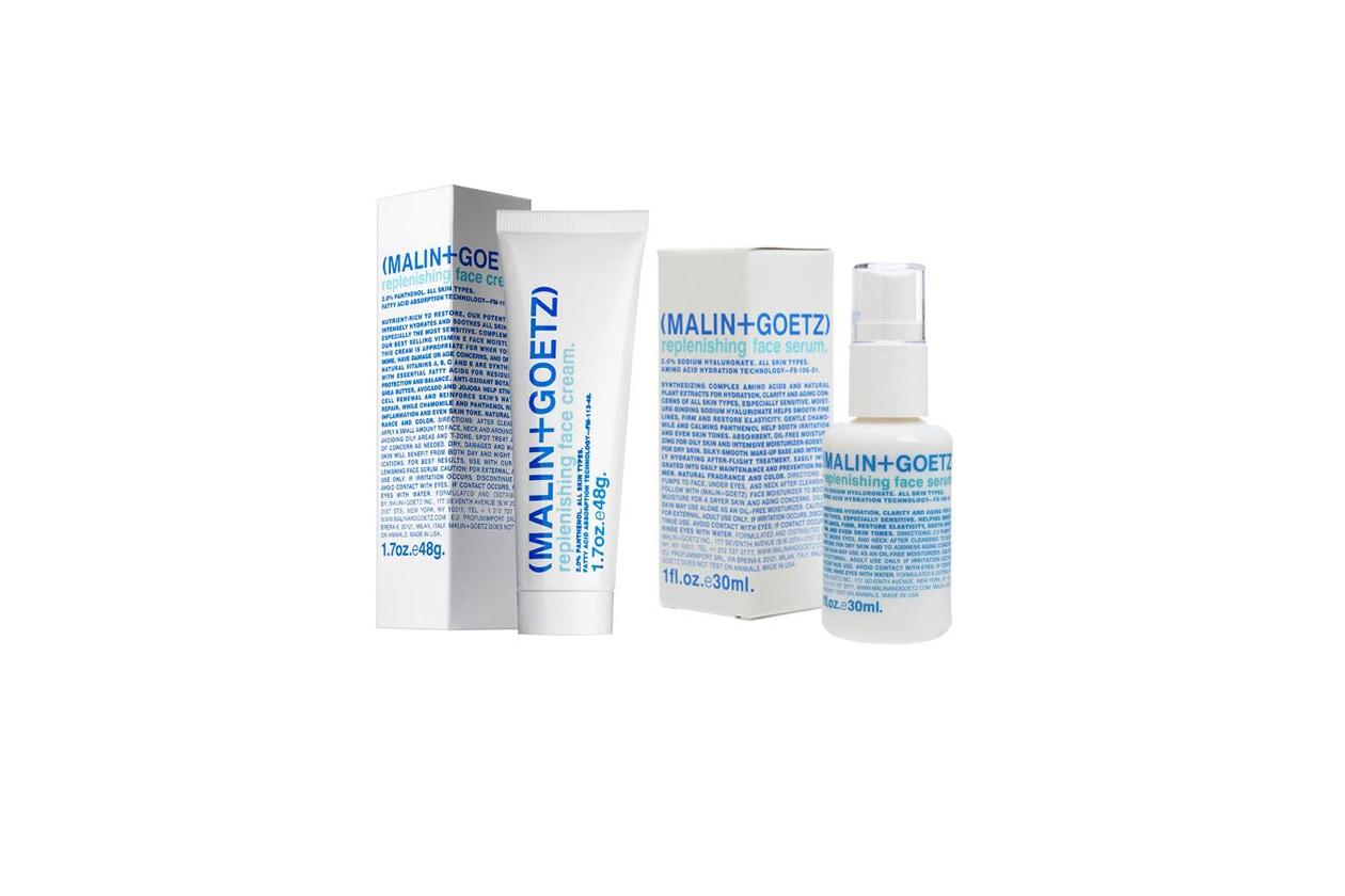 Malin + Goetz Replenishing Face Serum e Cream riparano la pelle riducendo eventuali infiammazioni