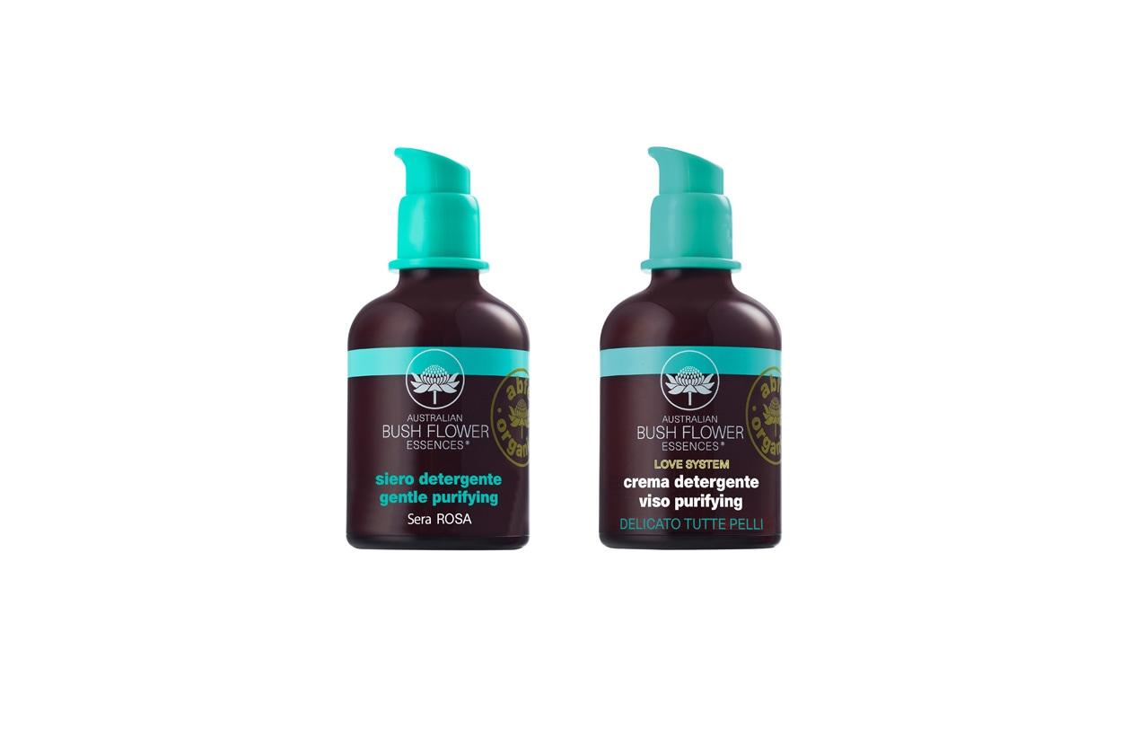Contengono essenze floreali australiane che purificano la pelle a fine giornata il siero e la crema detergente Gentle Purifying di Love System