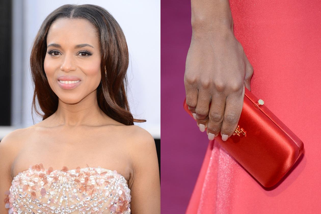 Dalle unghie bianche al rosso corallo del make up: l'Oscar per il migliore beauty look matching va a Kerry Washington