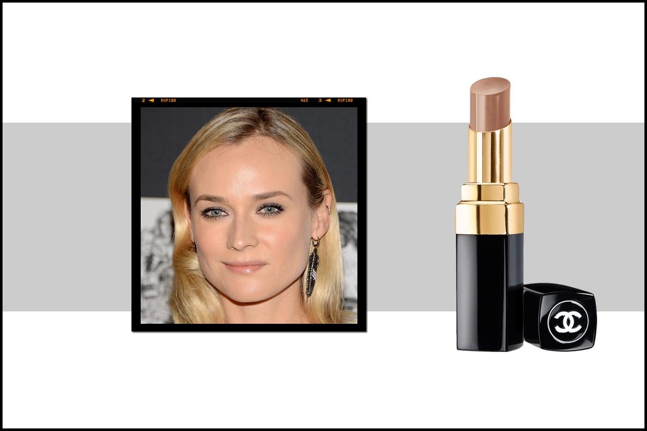 Diane Kruger predilige da sempre un finish naturale. Il lipstick consigliato? Il Rouge Coco Shine Chic di Chanel