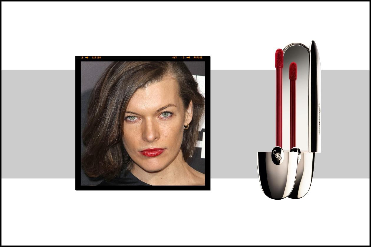 Effetto gloss brillante per le labbra di Milla Jovovich con il Rouge G L'Extrait Gourmandise di Guerlain