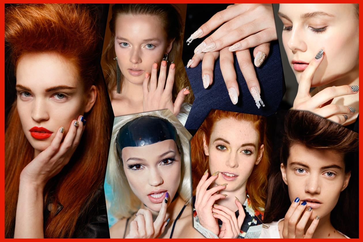 Giochi di sovrapposizioni cromatiche su unghie extra long: le lacche si combinano per creare geometrie ad alto impatto o abbinamenti dal mood Sixties