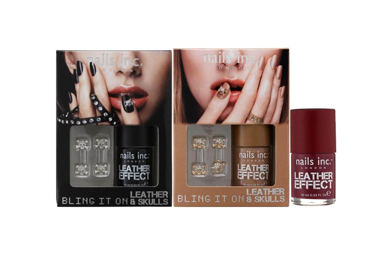 Ispirato alle tendenza p/e 2013, il Bling It On Tan Leather & Skulls di Nails. Inc.  ha un effetto lucido sull'unghia resa particolare da teschi di cristallo per una nail art easy to do ma di forte impatto