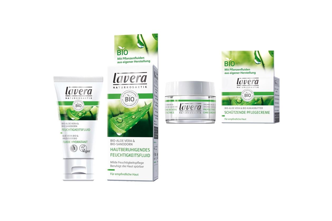 Sono naturali al 100% il fluido viso rilassante e la crema protettiva di Lavera