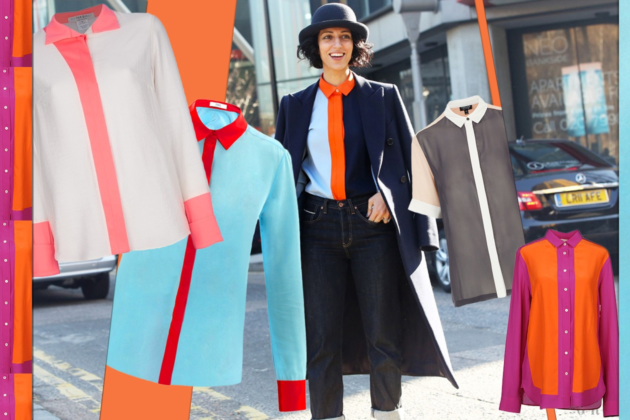 011 Fashion Camicie Color block