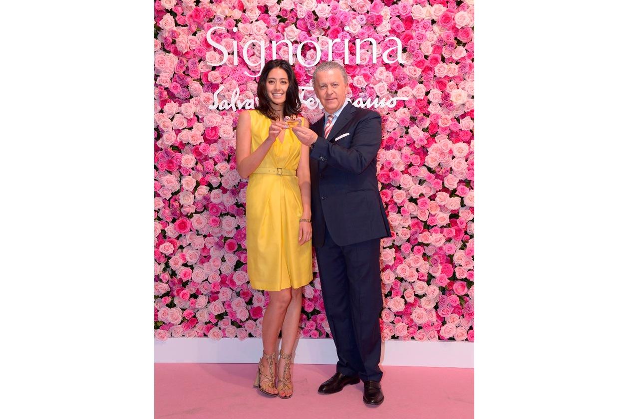 Ferragamo Parfums CEO Luciano Bertinelli & VIP guest model and tv talent Ms Izumi Mori