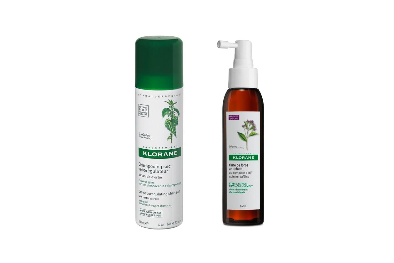 Indicati per capelli fragili il Trattamento d'urto contro la caduta dei capelli Cure de Force e lo shampoo secco di Klorane