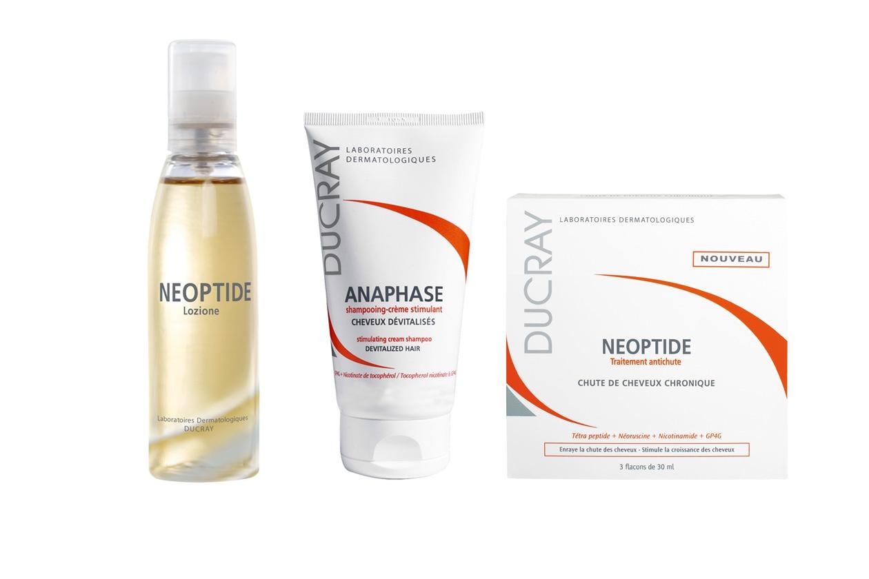 Lo shampoo Anaphase di Ducray e la linea Neoptide svolgono un'azione energizzante sul cuoio capelluto,