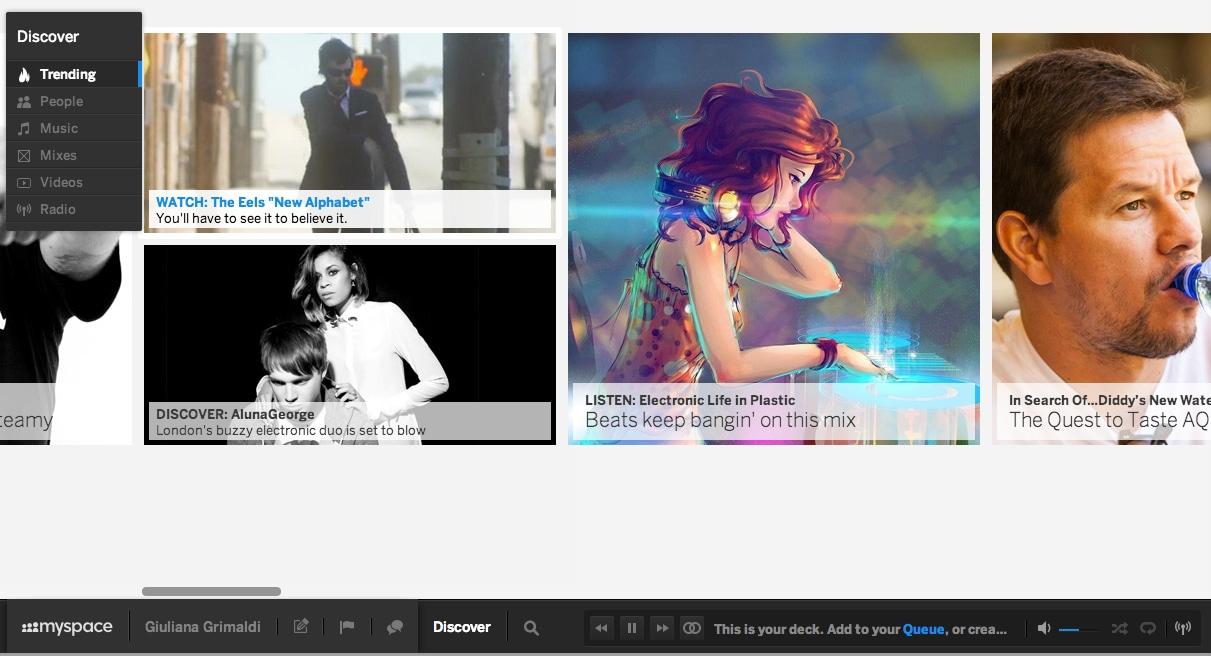 Una schermata di New MySpace