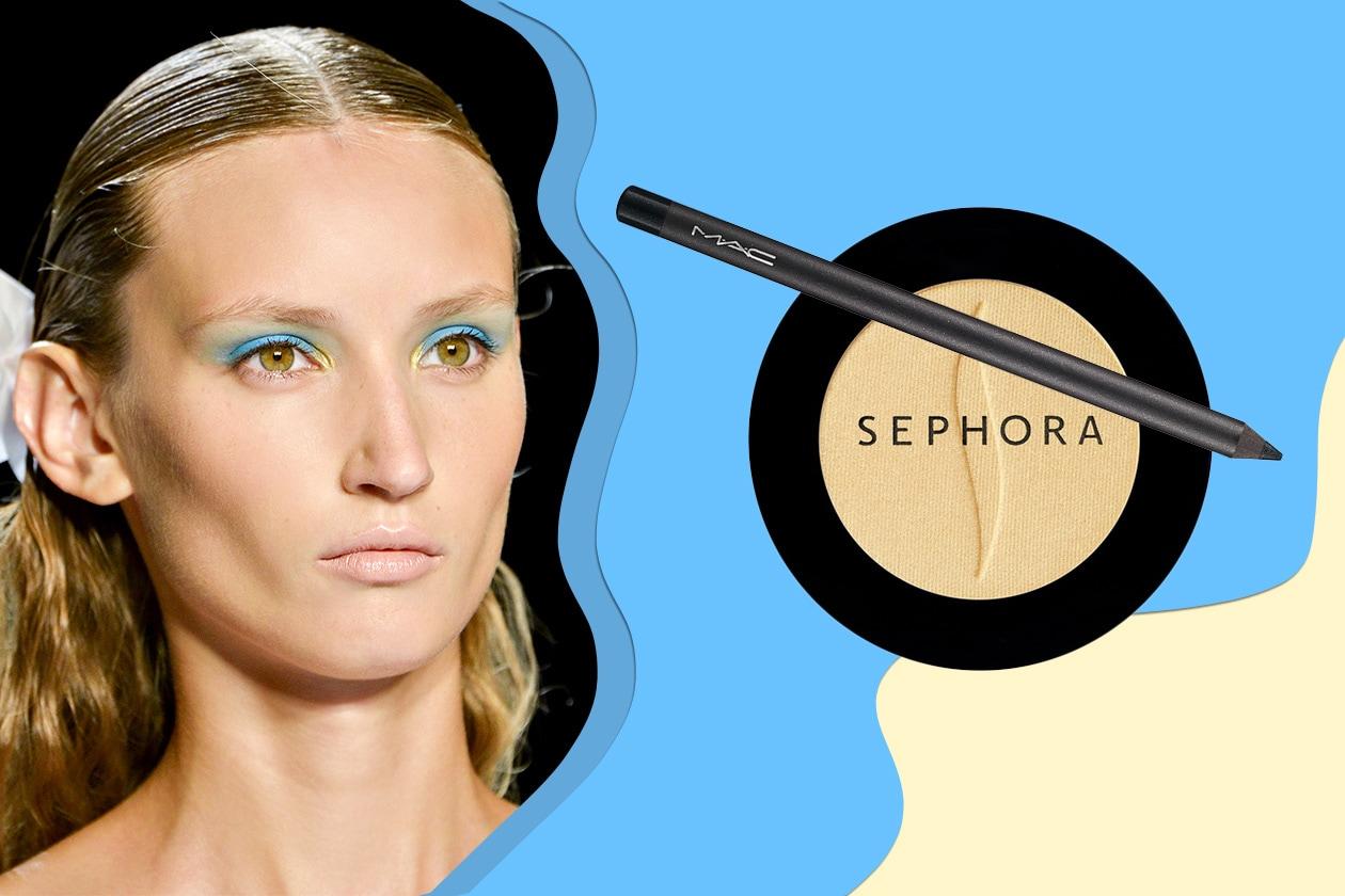 Giallo e azzurro sugli occhi della modella di Monique Lhuillier (Sephora – MAC)