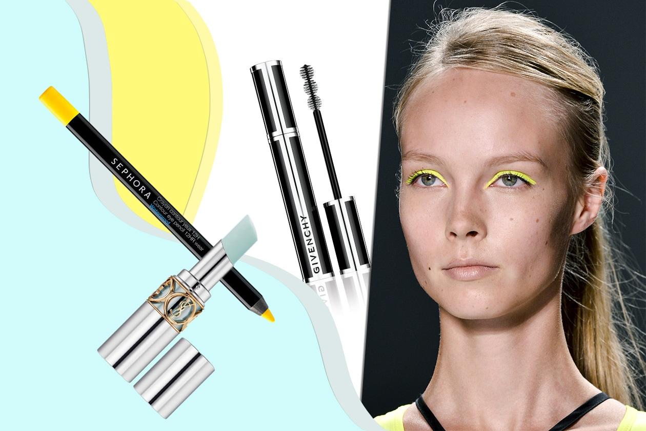 Giallo neon sugli occhi della modella di Milly by Michelle Smith (Sephora – Yves Saint Laurent – Givenchy)