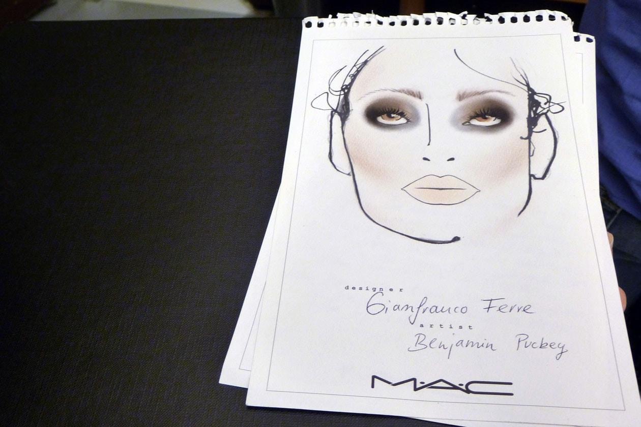 La face chart firmata da Benjamin Pukey per la sfilata di Gianfranco Ferré