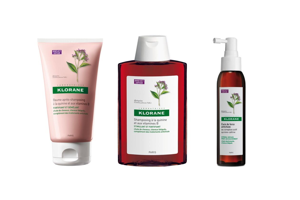 Lo Shampoo, il Balsamo e il Trattamento d'urto di Klorane contengono chinina e vitamine B di Klorane e sono pensati per i capelli devitalizzati