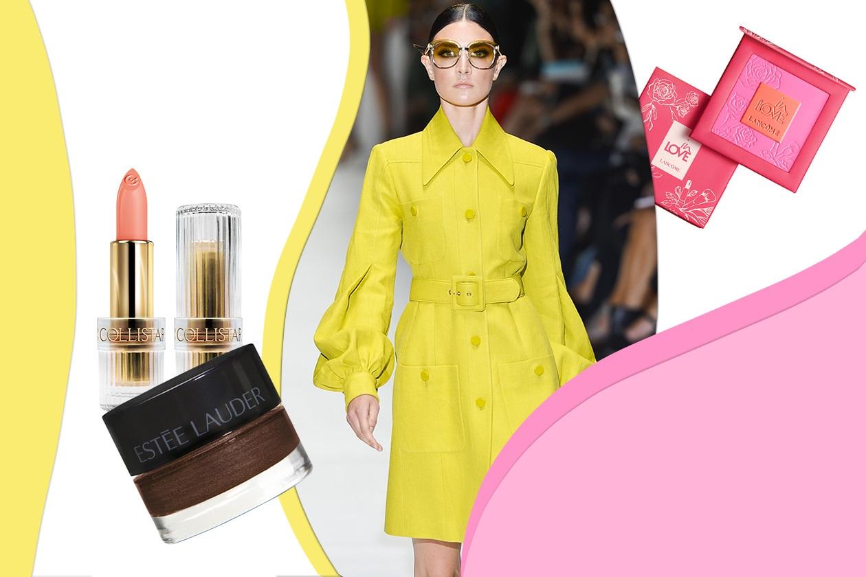 Rosa, marrone e oro è il mix ideale per il trucco abbinato al coat di Gucci (Collistar – Estée Lauder – Lancôme)