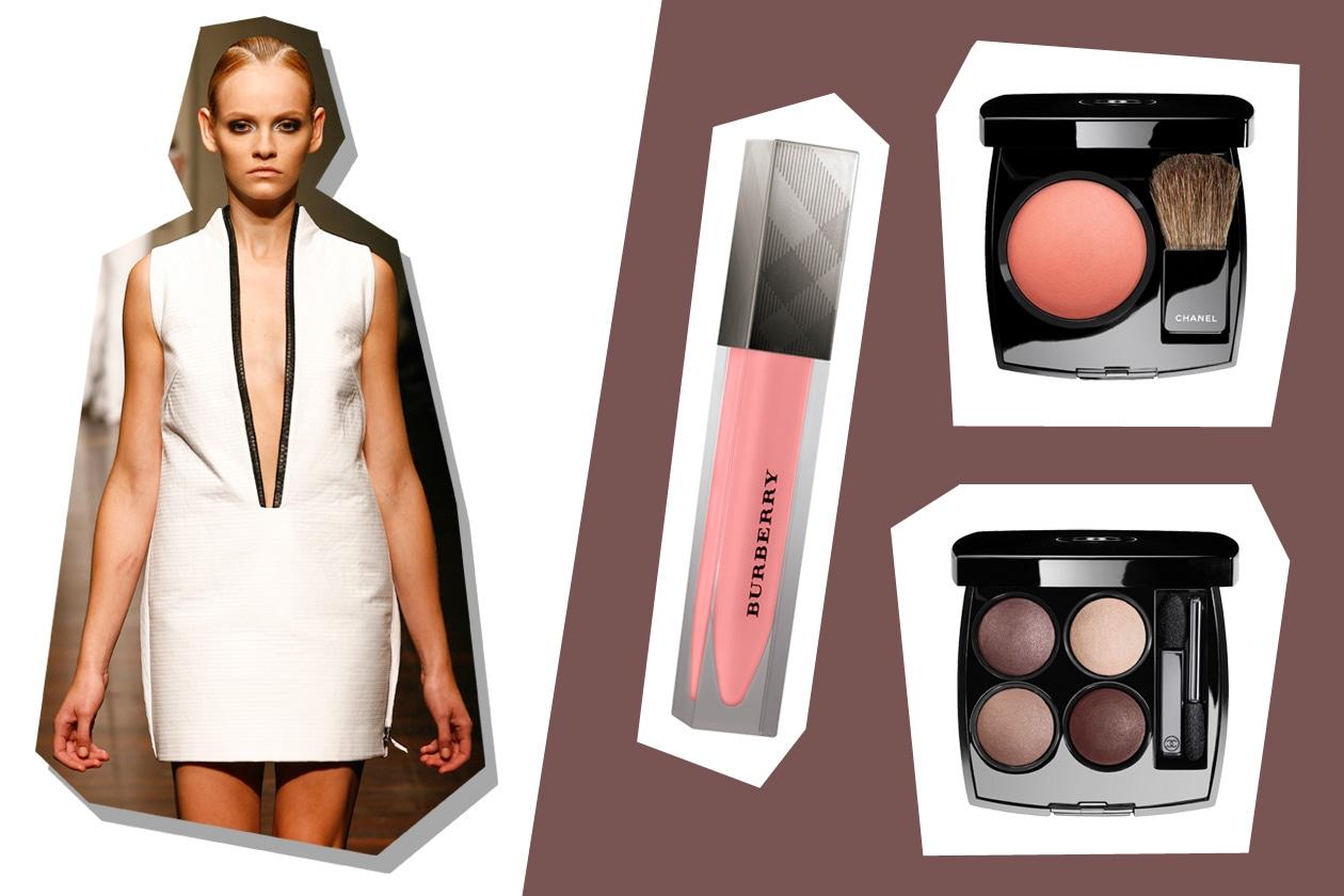 Scollatura netta e  capi bicolor per Gianfranco Ferré (Burberry Beauty – Chanel)