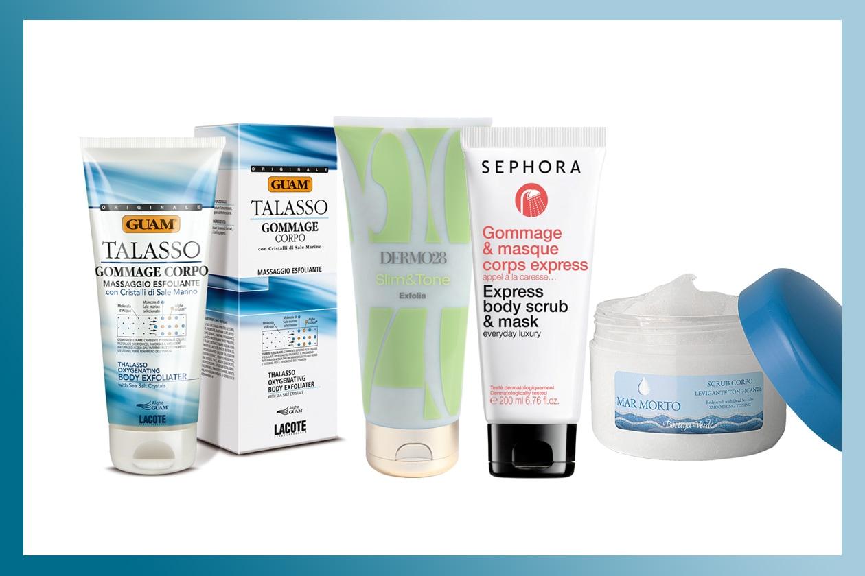 Un massaggio esfoliante favorisce l'ossigenazione dei tessuti e leviga la pelle (Guam – Dermo28 – Sephora – Bottega Verde)