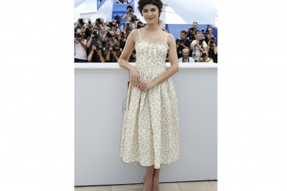 audrey tautou in red valentino cannes getty