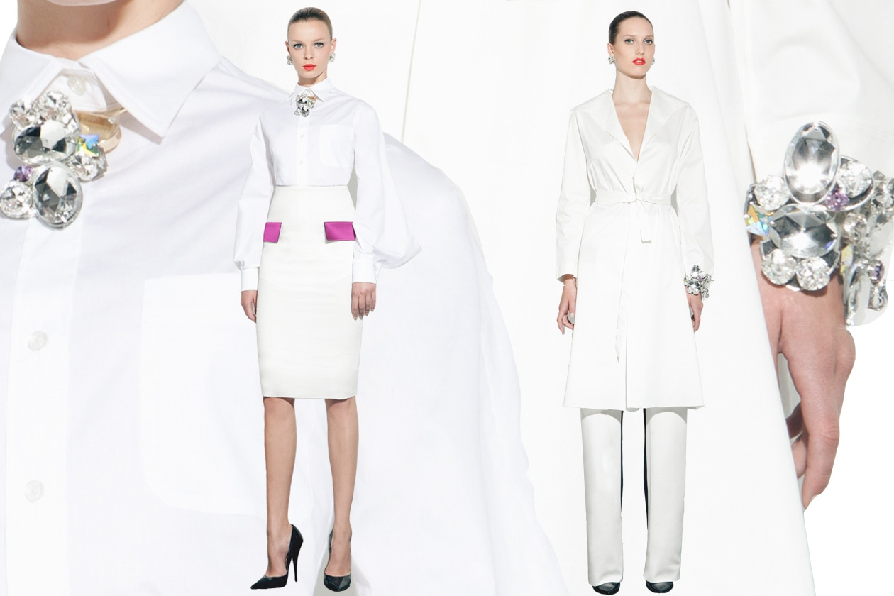 Peet Dullaert SS13 abito bianco cristalli