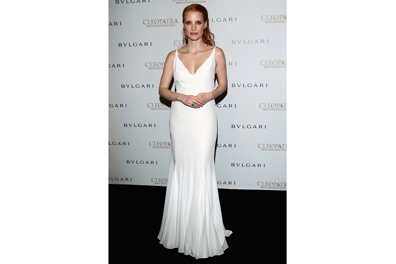 Sposa Star in bianco Jessica Chastain in GbRT