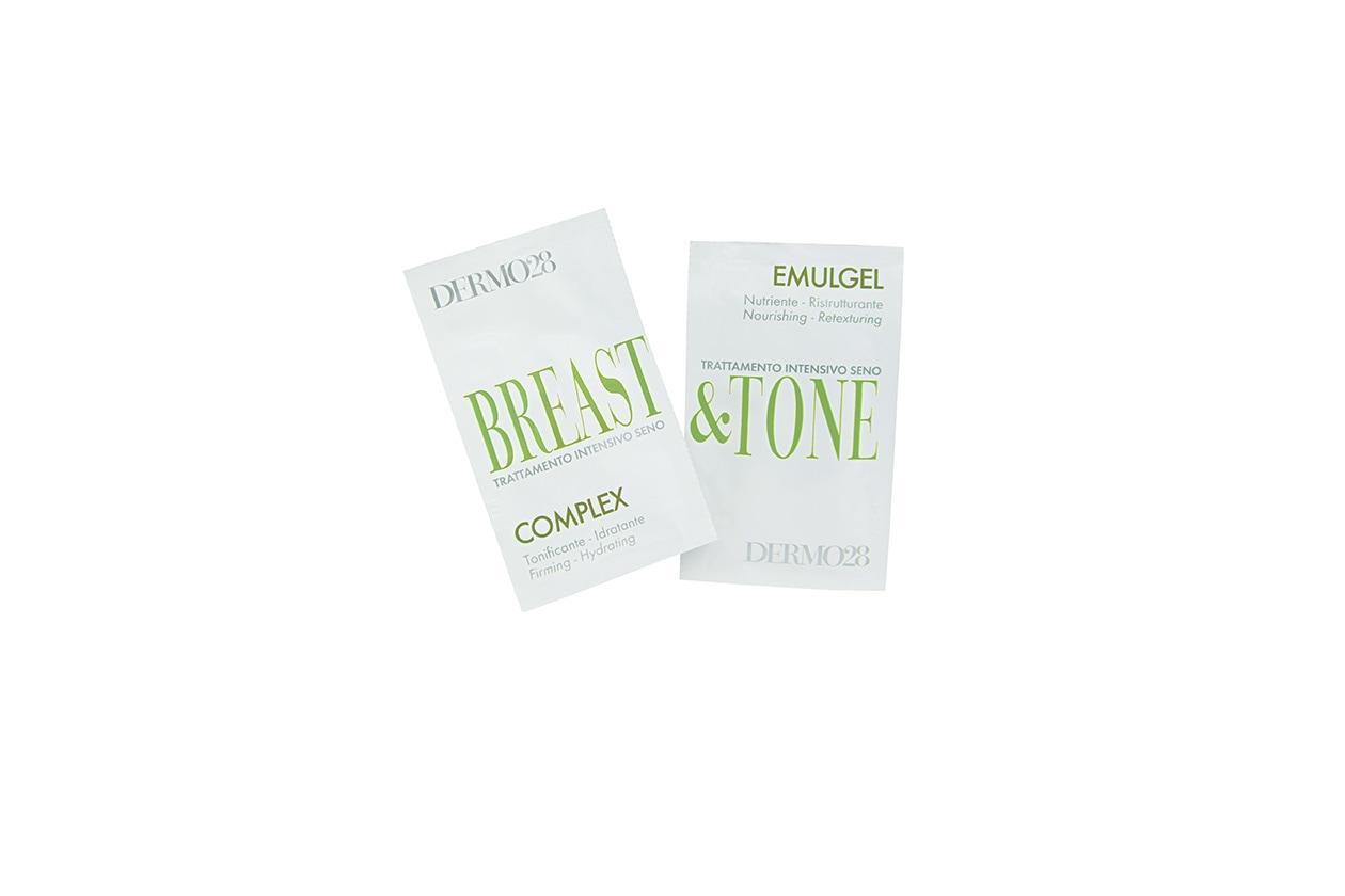 Un trattamento a due fasi, Breast&Tone di Dermo28: si applica prima il Complex con un massaggio intorno al seno e poi si prosegue con il Breast&Tone Emulgel