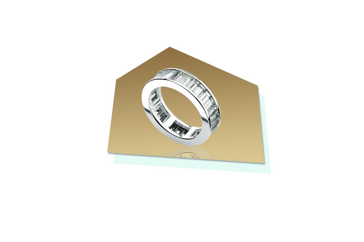 Anelli Bulgari anello in platino con diamanti taglio baguette