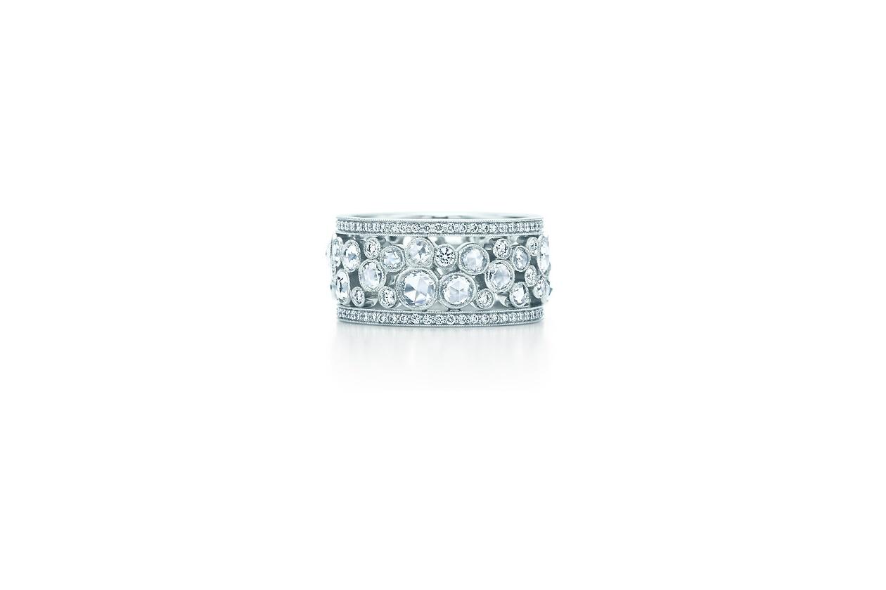 Anelli Tiffany Garden Anello in platino con diamanti tondi taglio brillante e taglio rosetta