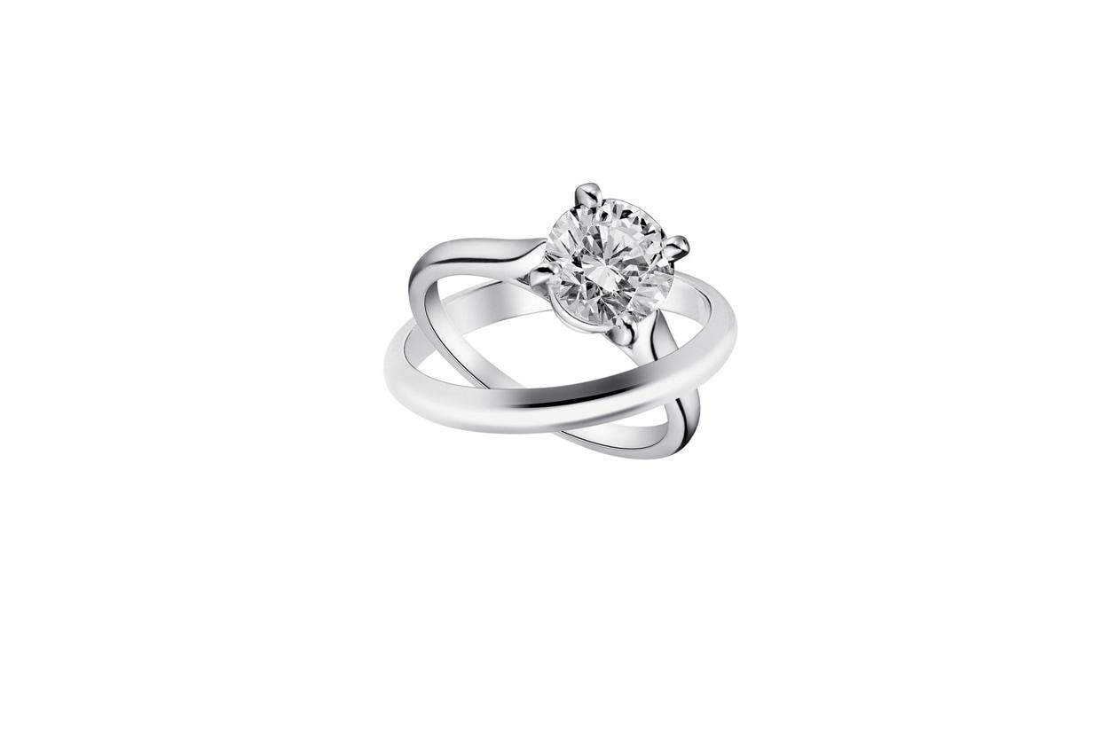 Anelli cartier solitario in platino con diamante