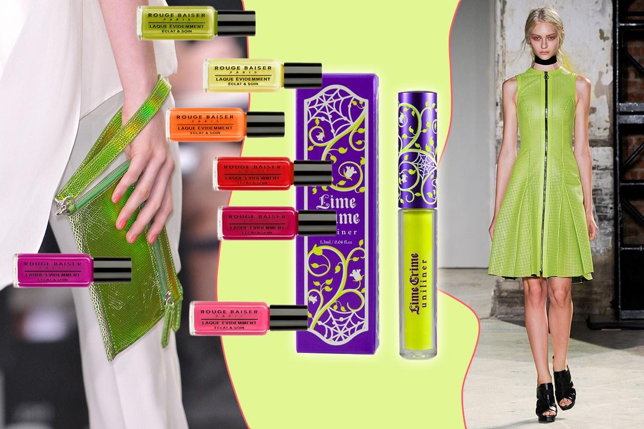 GIALLO METAL: guardaroba luminosissimo (Proenza Schouler – Antonio Berardi) e un make up very fluo (Lime Crime – Rouge Baiser)
