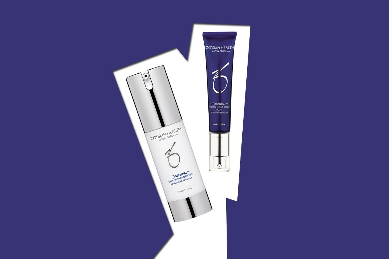 L'Ossential Radical Night Repair Plus è a base di retinolo mentre l'Ossential Daily Power Defense ripara il DNA del tessuto cutaneo (ZO Skin Health)