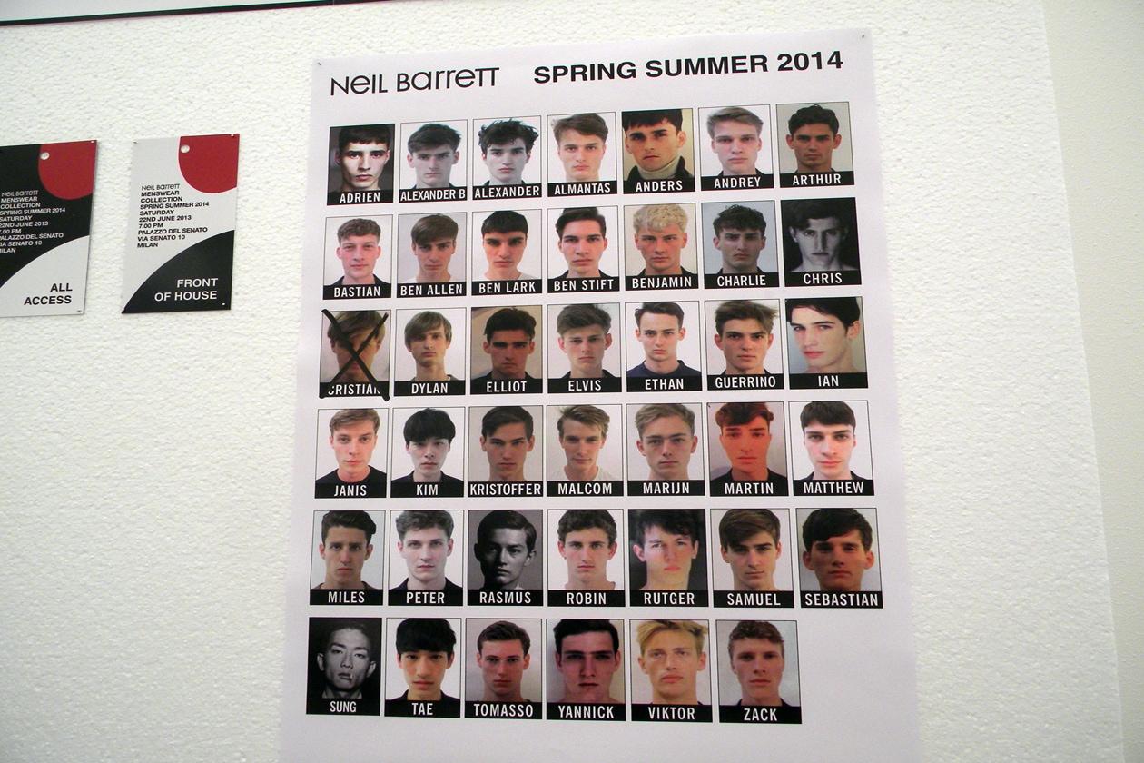 La squadra dei modelli scelti per la sfilata primavera/estate 2014