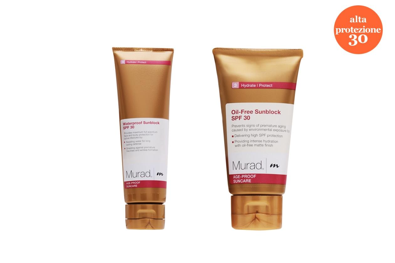 Obiettivo anti-aging con il Waterproof Sunblock For Face and Body e l'Oil Free Sunblock For Face di Murad