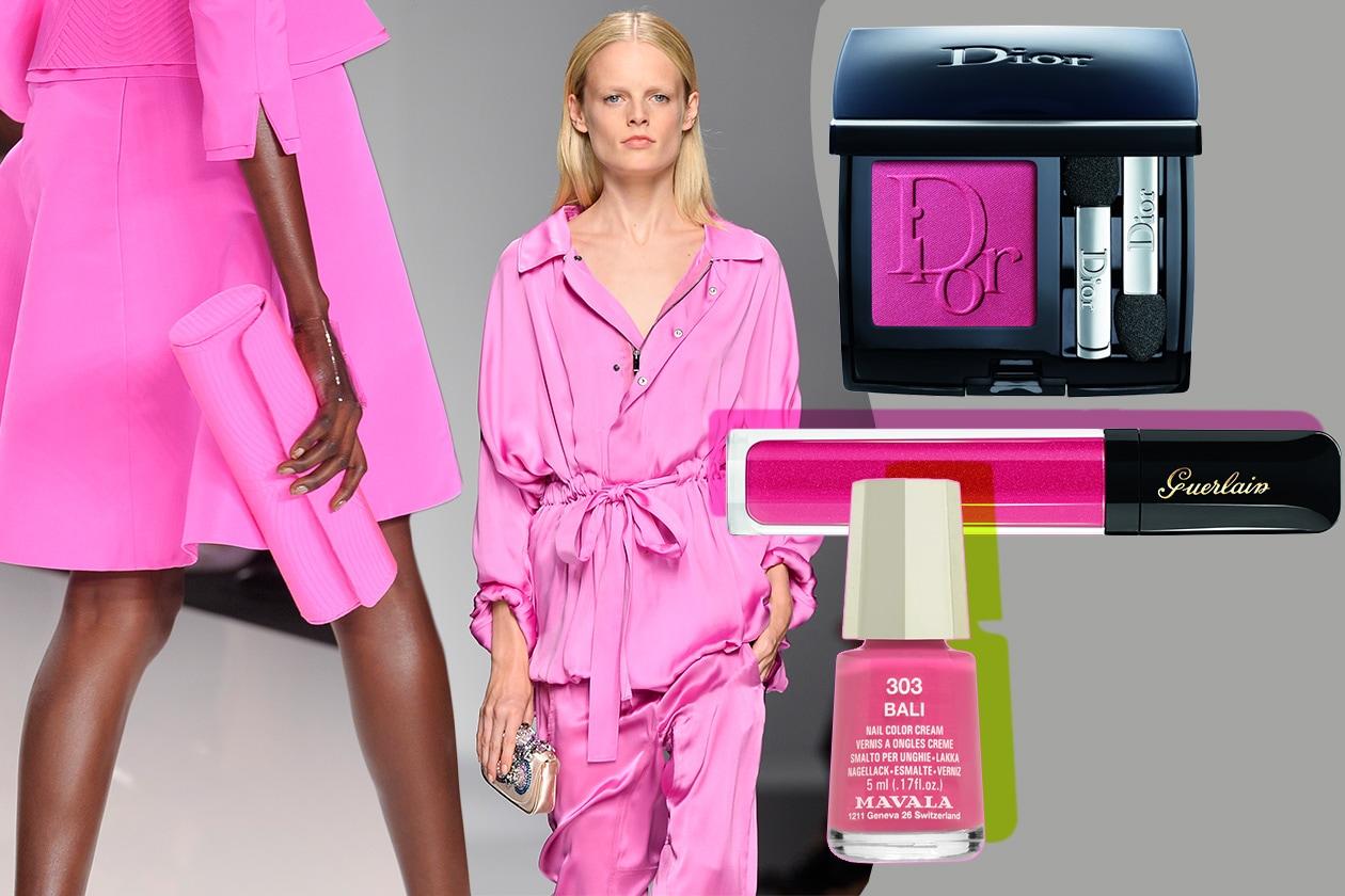 PINK, PINK, PINK!: immancabile rosa. Protagonista nella collezione p/e 2013 di Blumarine e Chado Ralph Rucci e nel beauty case (Dior – Guerlain – Mavala)