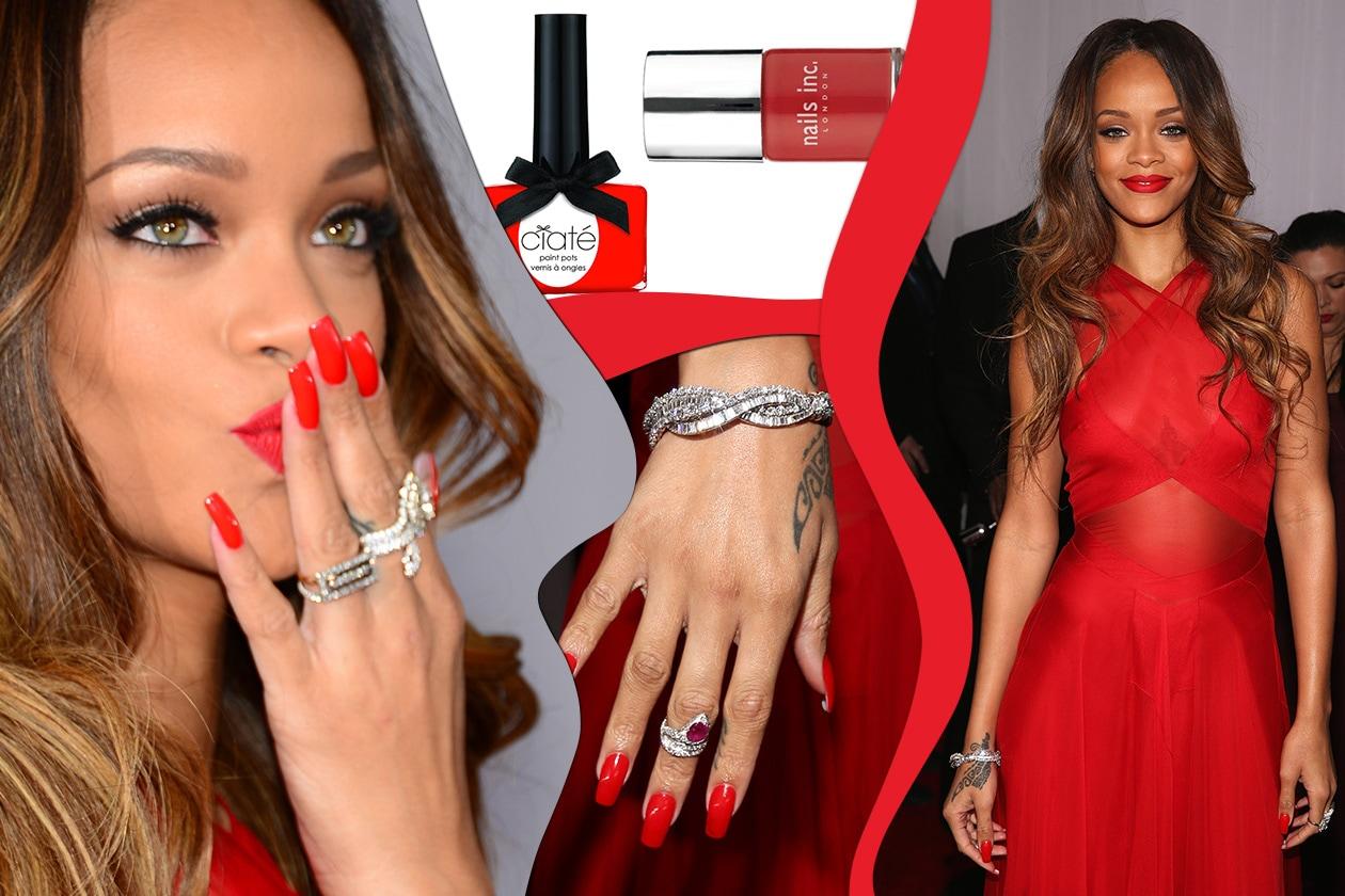 Rosso passione per un look monocolore ispirazione Rihanna (Ciaté – Nails Inc.)