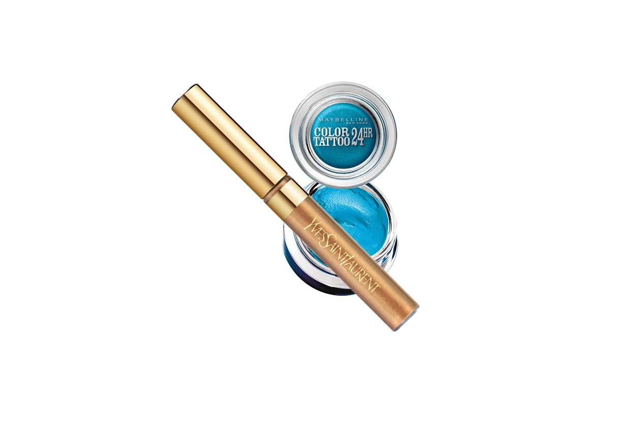 TURQUOISE FEVER: iperpigmentato il Maybelline Color Tattoo 24h Turquoise Forever. Tocco di luce con l'Eyeliner Gold di Yves Saint Laurent