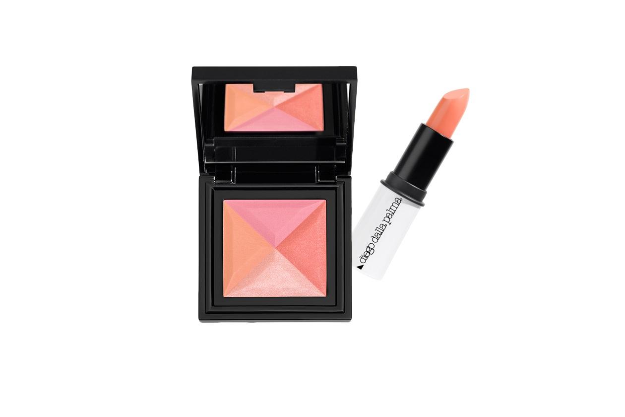 Un lipstick sorbetto dai toni aranciati e un blush che mixa nuance rosa e pesca per un look delicato (Diego Dalla Palma)