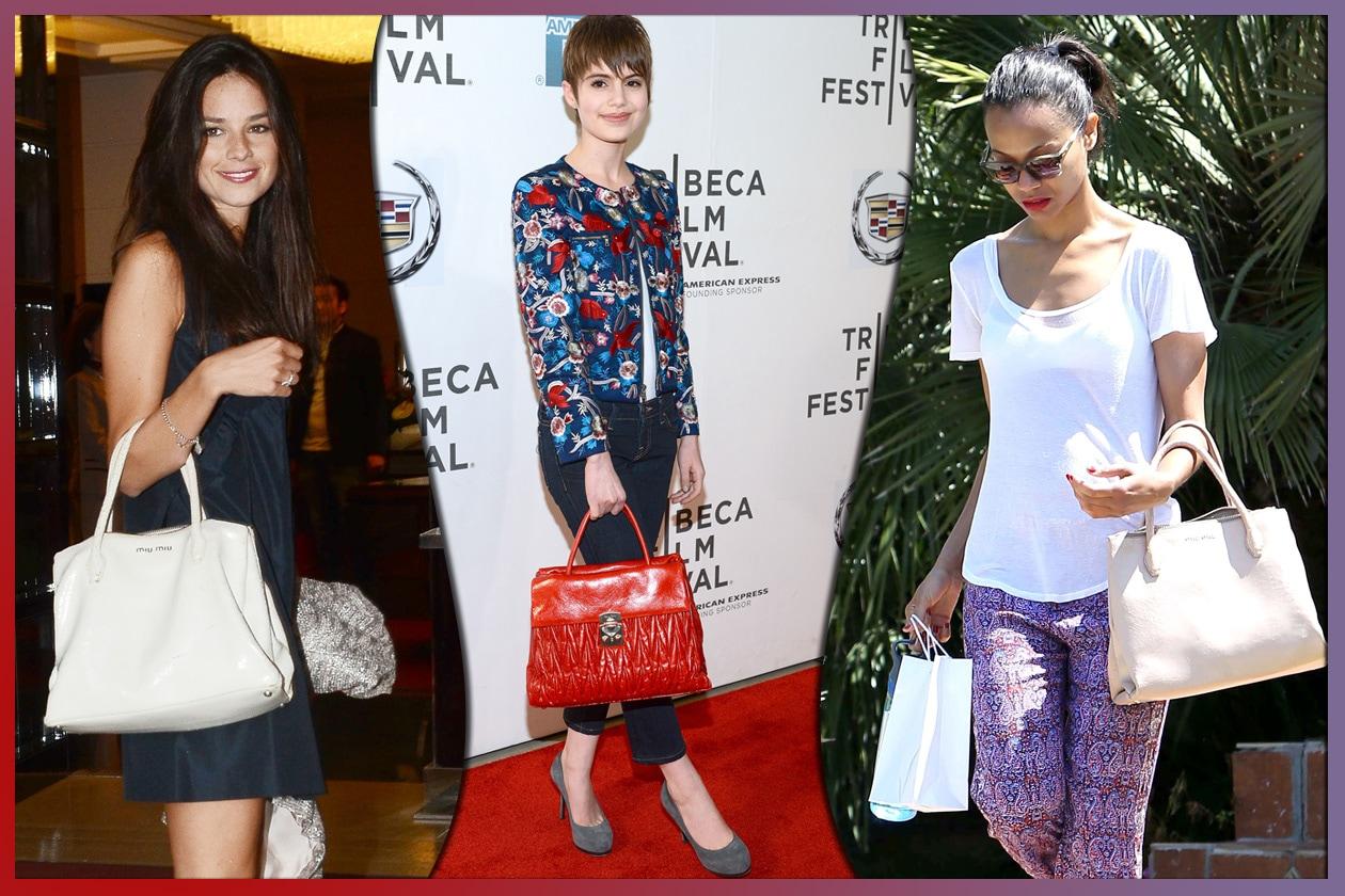 a06c938a7f 06 miu miu Katy Saunders Sami Gayle e Zoe Saldana e le loro Miu Miu Bag