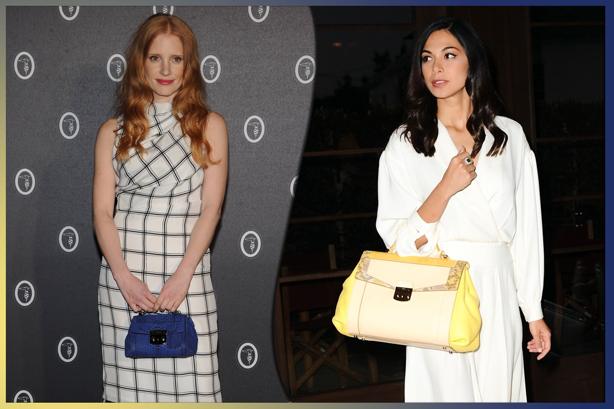 4e8e309c24 09 trussardi La star di Hollywood Jessica Chastain e l attrice israeliana  Moran Aitias con al Lucinda Bag di Trussardi