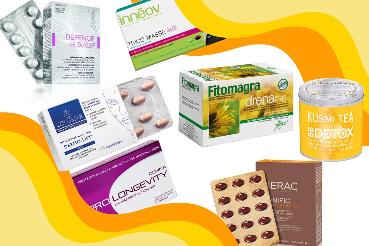 Integratori e prodotti in pillole per la bellezza del corpo, del viso e dei capelli